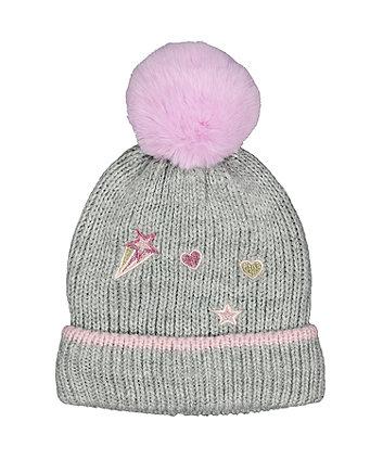 Mothercare Grey Glitter Badge Beanie Hat