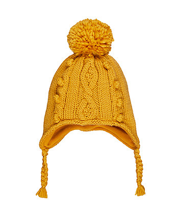 Mothercare Mustard Pom Trapper Hat