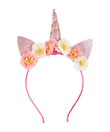 Mothercare Pink Floral Unicorn Headband