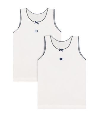 Mothercare White Flower Vests - 2 Pack