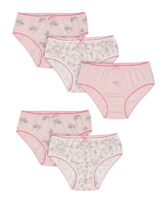 Mothercare Pink Animal Briefs - 5 Pack