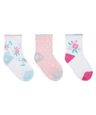 Mothercare Floral Socks With Slip-Resist Soles - 3 Pack