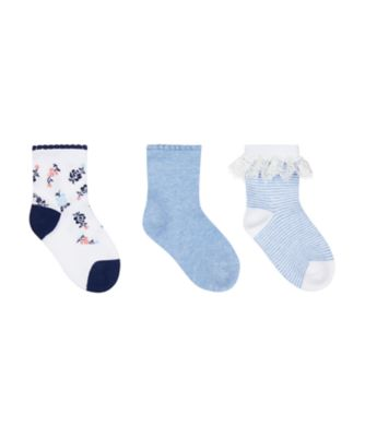 Mothercare Blue Lace And Floral Socks - 3 Pack