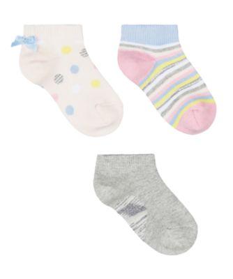 Mothercare Spotty Trainer Socks - 3 Pack