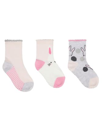 Mothercare Bunny Socks With Slip-Resist Soles - 3 Pack
