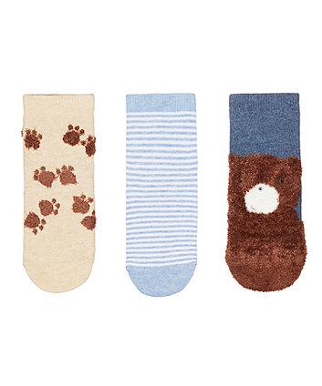Mothercare Fluffy Bear Socks - 3 Pack