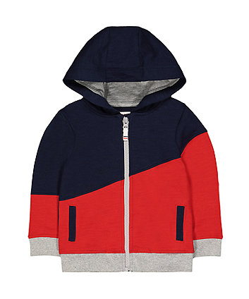 Mothercare Colour Block Zip-Through Hoodie