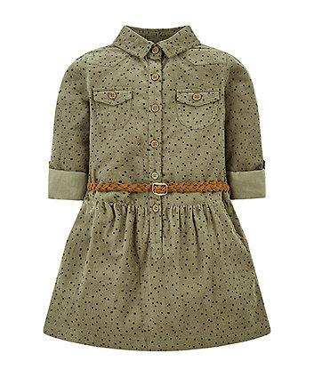 Mothercare Khaki Spot Cord Shirt Dress