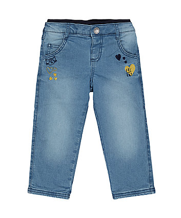 Blue Ribwaist Cat Jeans
