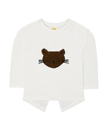 Sequin Cat Face T-Shirt