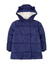 Mothercare Navy Heart Padded Coat With Borg Lining