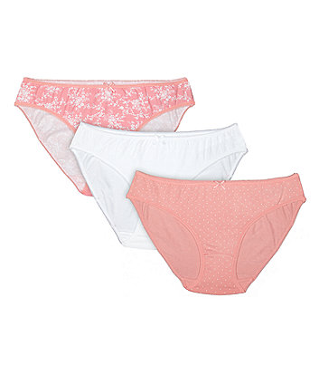 Mothercare Pink And White Maternity Mini Briefs - 3 Pack