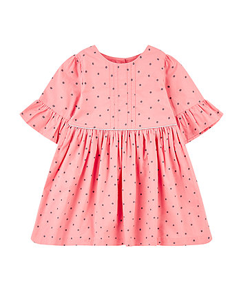 Mothercare Pink Flowers Flute-Sleeved Dress