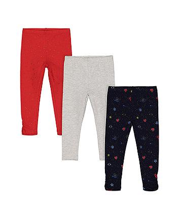 Mothercare Glitter Star Leggings - 3 Pack
