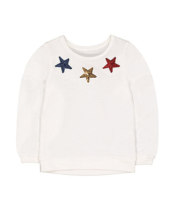 Mothercare White Sequin Stars Sweat Top