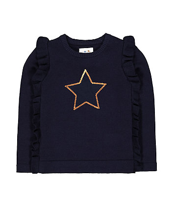 Mothercare Navy Sequin Star Frilled Jumper