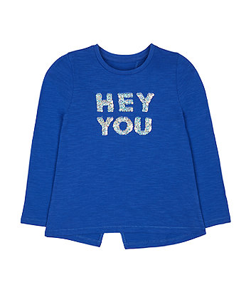 Mothercare Blue Sequin Hey You T-Shirt