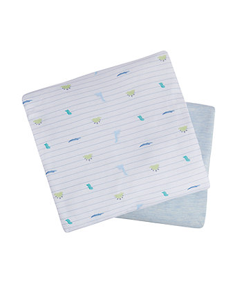 Mothercare Sleepysaurus Fitted Jersey Cot Bed Sheets - 2 Pack