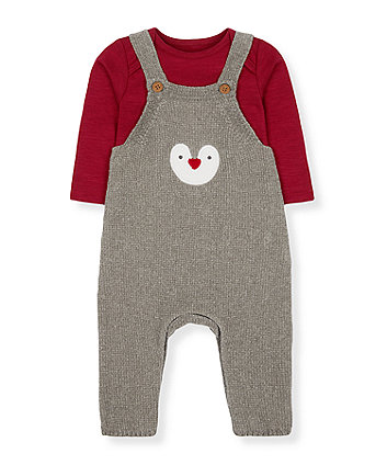 Mothercare Grey Penguin Dungarees And Red Bodysuit Set