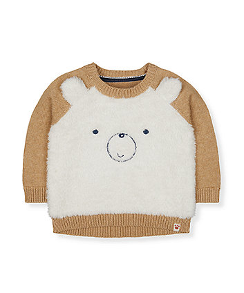 Mothercare Cream Fluffy Bear Knitted Jumper