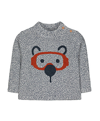 Mothercare Grey Bear Face Knit Jumper