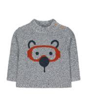 Mothercare Grey Bear Face Knit Jumper