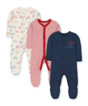 Mothercare Little Cub Sleepsuits - 3 Pack