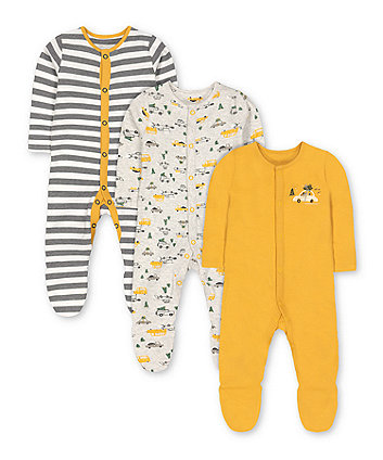 Mothercare Stripe, Snowplough And Christmas Tree Sleepsuits - 3 Pack