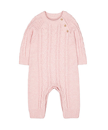 Mothercare Pink Cable-Knit All In One