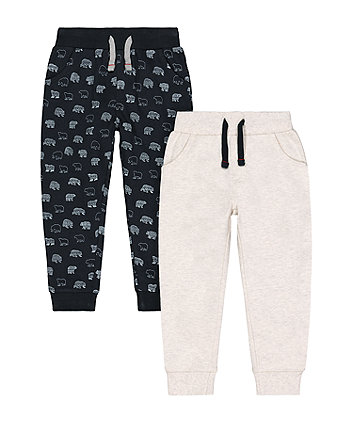 Mothercare Navy Polar Bear And Grey Joggers - 2 Pack