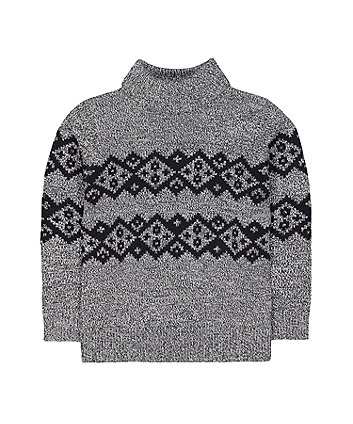 Mothercare Grey Fairisle Knit Roll-Neck Jumper