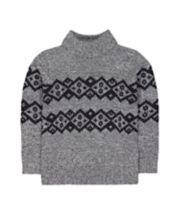 Mothercare Grey Fairisle Knit Roll-Neck Jumper