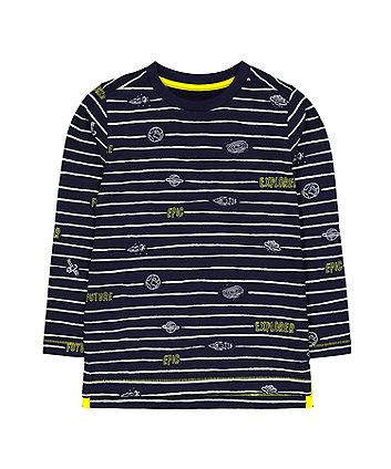 Mothercare Navy Stripe Future Space Explorer T-Shirt