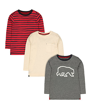 Mothercare Polar Bear, Plain And Striped T-Shirts - 3 Pack
