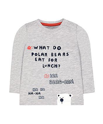 Mothercare Grey Polar Bear Joke T-Shirt