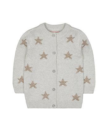 Mothercare Grey Glitter Star Cardigan