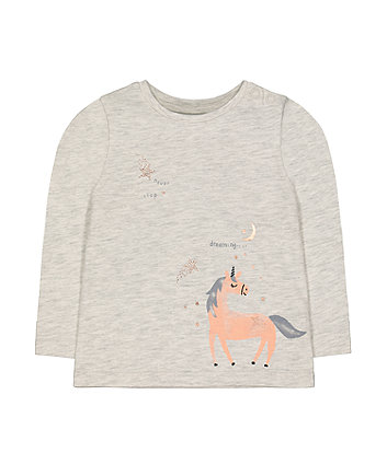 Mothercare Grey Sparkle Unicorn Dream T-Shirt