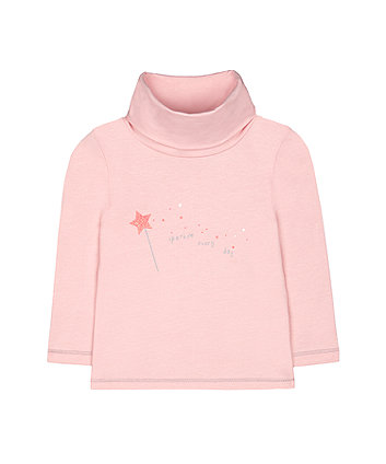 Mothercare Pink Sparkle Star Roll-Neck Jumper
