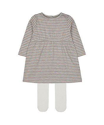 Mothercare Fashion Grey Striped Jersey Dress And Tights Set
