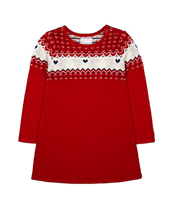 Mothercare Red Fairisle Knitted Dress