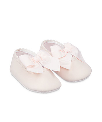Mothercare Pink Bow Pram Shoes