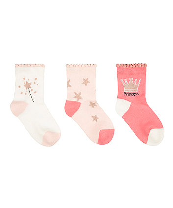 Mothercare Princess Socks - 3 Pack