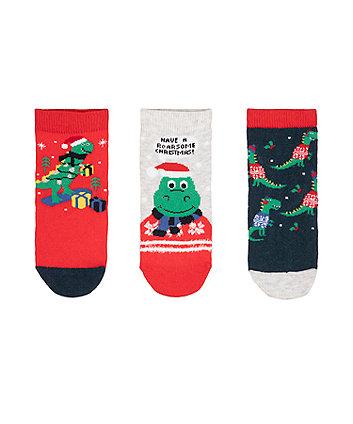 Mothercare Festive Dino Socks - 3 Pack
