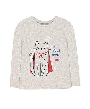 Mothercare Grey Superhero Cat Glitter T-Shirt