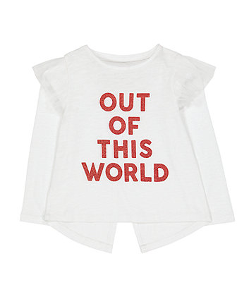 Mothercare White Glitter Out Of This World T-Shirt