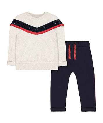 Mothercare Grey Sequin Sweat Top And Navy Glitter Stripe Joggers Set