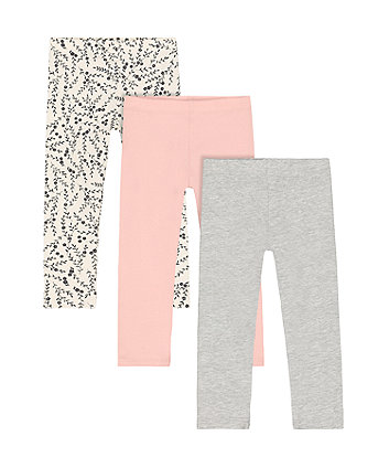Mothercare Pink, Grey And Floral Leggings - 3 Pack