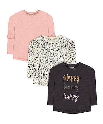 Mothercare Happy, Floral And Pink T-Shirts - 3 Pack