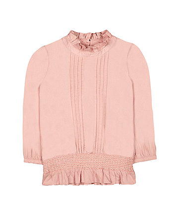 Mothercare Pink Frilly Neck Blouse