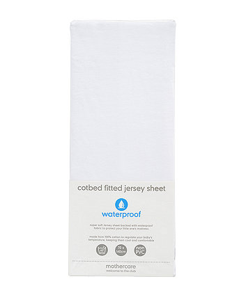 Mothercare Waterproof Jersey Cotton Fitted Cotbed Sheet - White